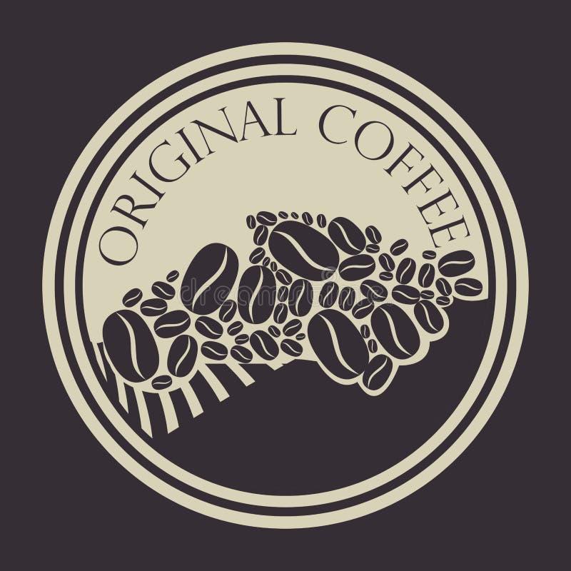 Selo original do café com grões ilustração do vetor
