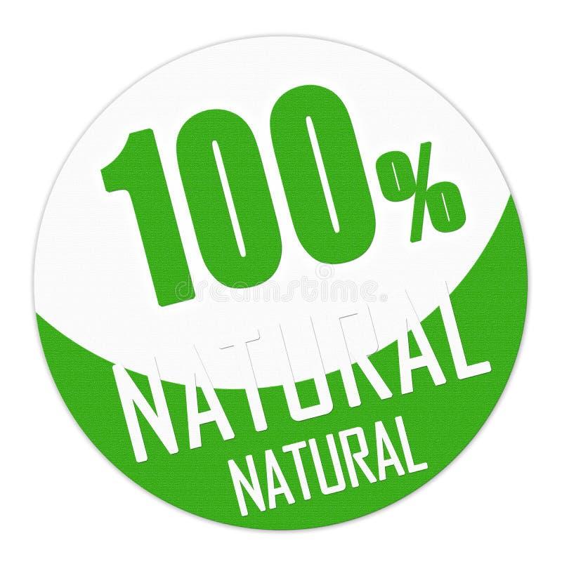Selo ou bandeira de cem por cento natural em verde e em branco ilustração stock