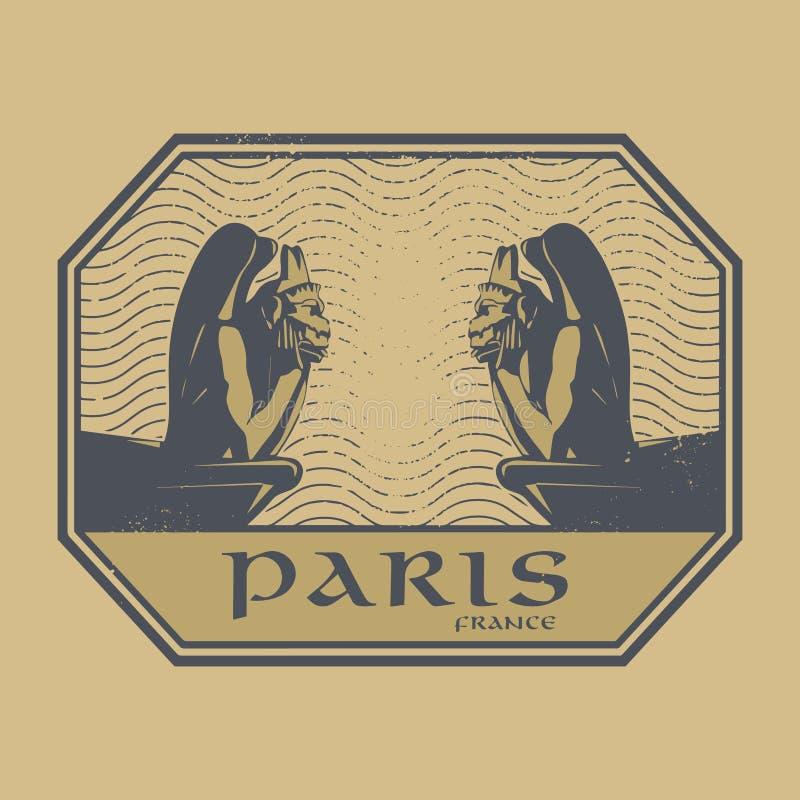 Selo ou etiqueta abstrata com demônios e texto de pedra Paris, França ilustração royalty free