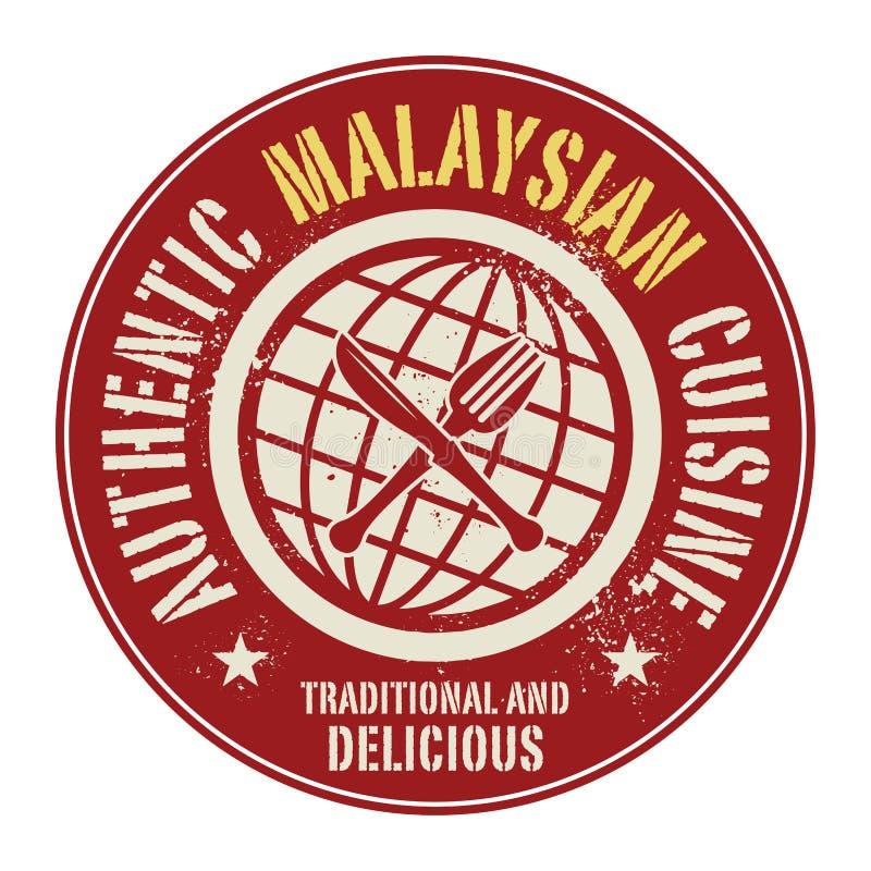 Selo ou etiqueta abstrata com o malaio autêntico Cuisin do texto ilustração royalty free