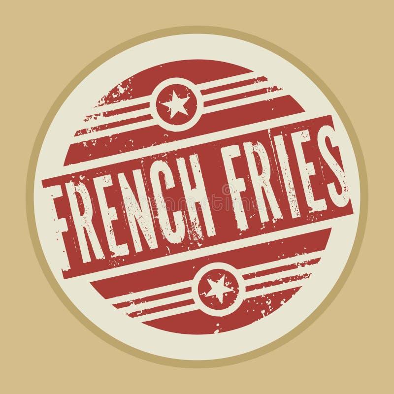Selo ou etiqueta abstrata do vintage do Grunge com batatas fritas do texto ilustração royalty free