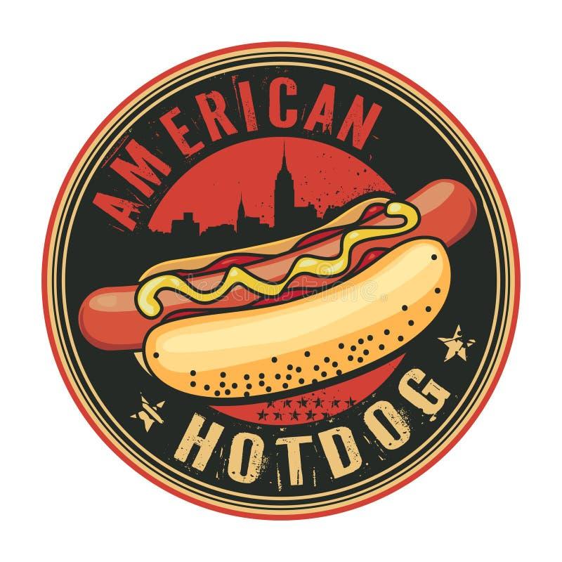 Selo ou etiqueta com Hotdog ilustração stock