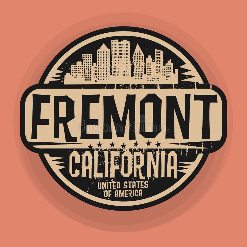 Selo ou etiqueta com nome de Fremont, Califórnia ilustração stock