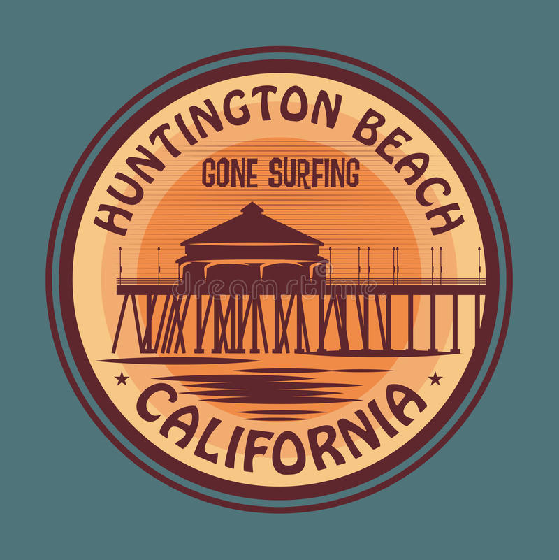 Selo ou sinal abstrato do surfista ilustração royalty free