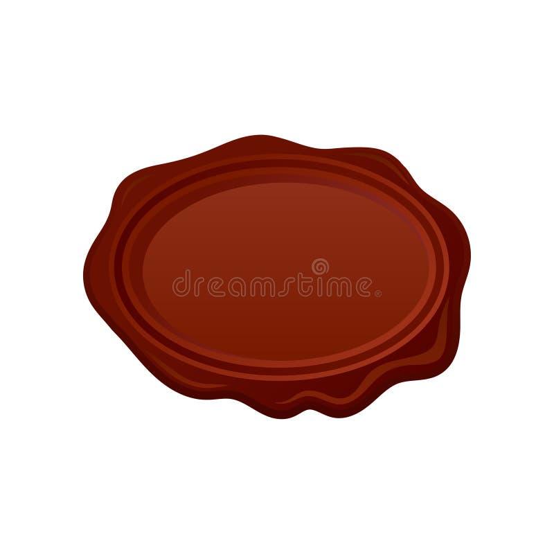 Selo oval do selo da cera de Brown com espaço para seu texto Símbolo postal Elemento do vetor para o certificado, o cartão ou a l ilustração stock
