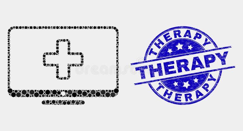 Selo pontilhado vetor do ícone da medicina do computador e do selo da terapia do Grunge ilustração do vetor