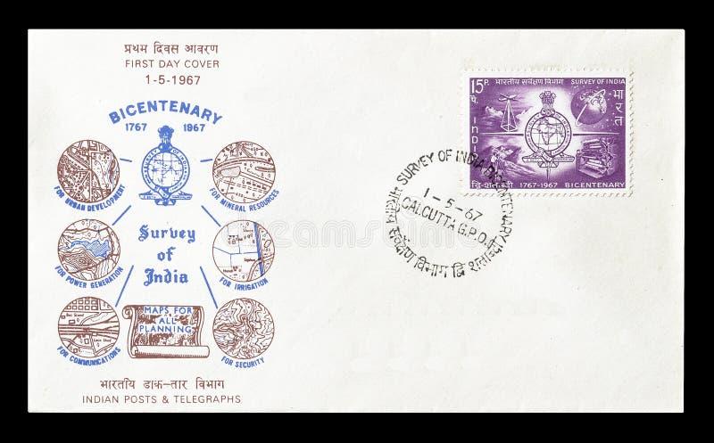 Selo postal cancelado impresso pela Índia imagem de stock
