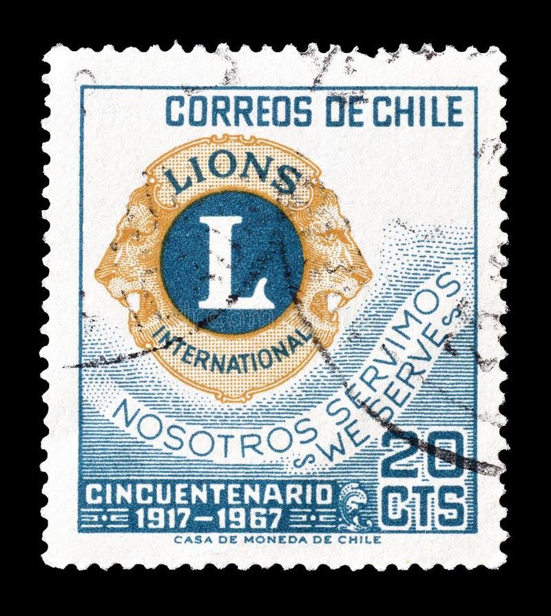 Selo postal cancelado impresso pelo Chile fotos de stock royalty free