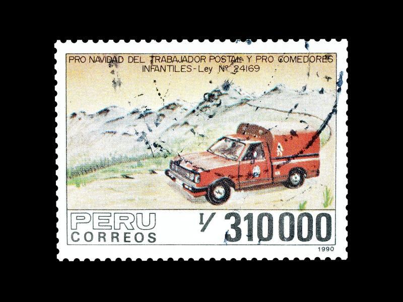 Selo postal cancelado impresso pelo Peru foto de stock