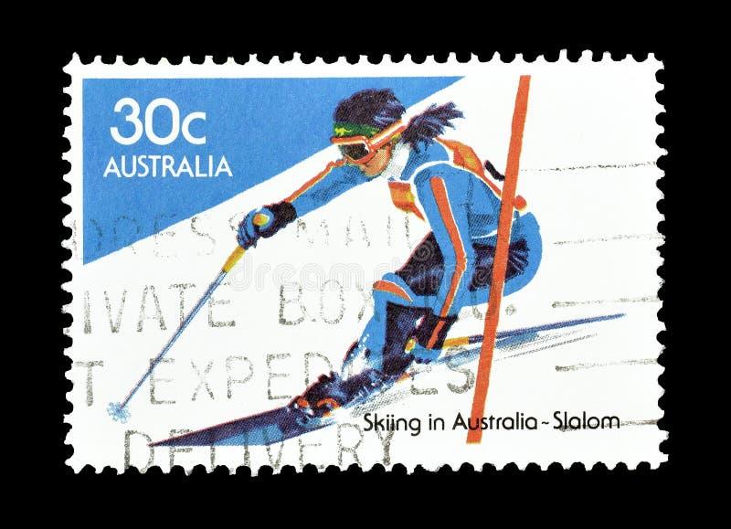 Selo postal cancelado impresso por Austrália foto de stock
