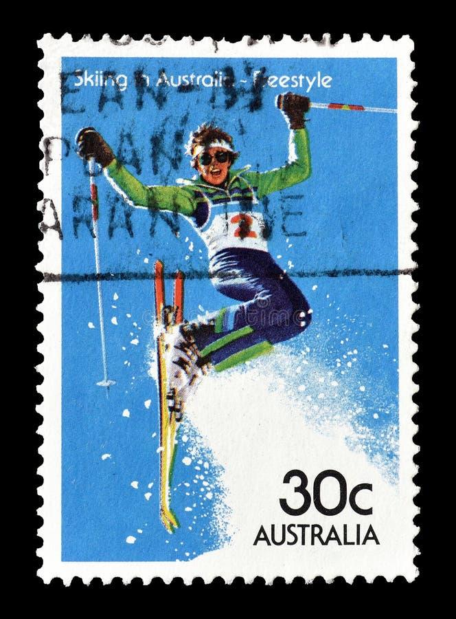 Selo postal cancelado impresso por Austr?lia fotografia de stock