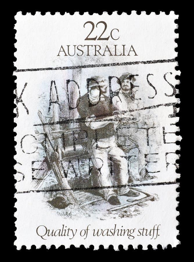 Selo postal cancelado impresso por Austr?lia imagens de stock