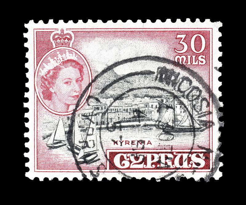 Selo postal cancelado impresso por Chipre fotos de stock
