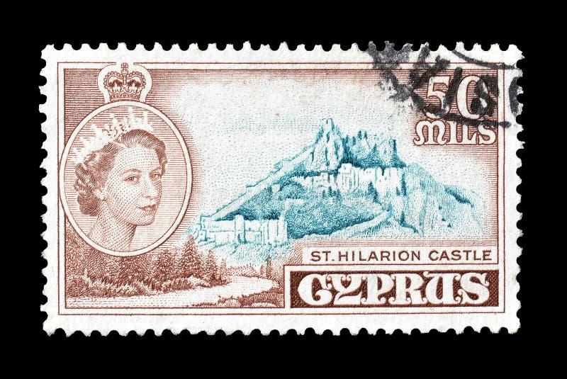 Selo postal cancelado impresso por Chipre fotografia de stock