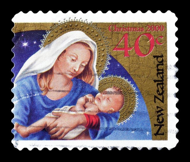Selo postal cancelado impresso por Nova Zelândia imagem de stock