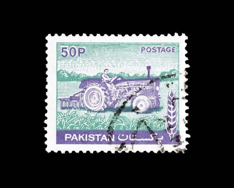 Selo postal cancelado impresso por Paquistão imagens de stock