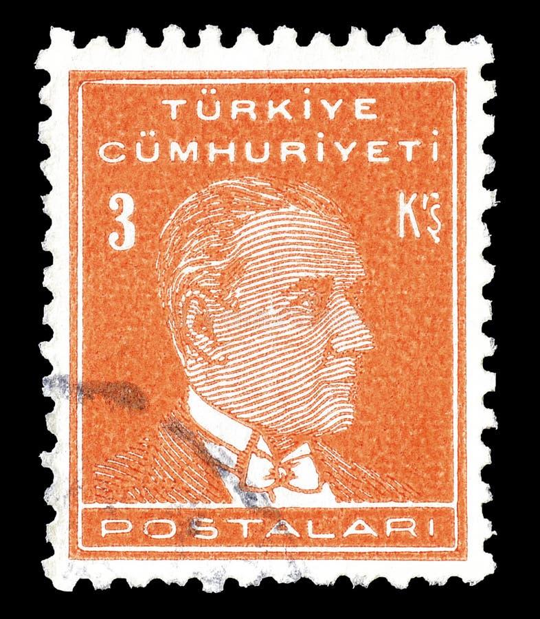 Selo postal cancelado impresso por Turquia foto de stock