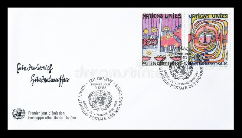 Selo postal cancelado impresso por United Nations fotos de stock royalty free