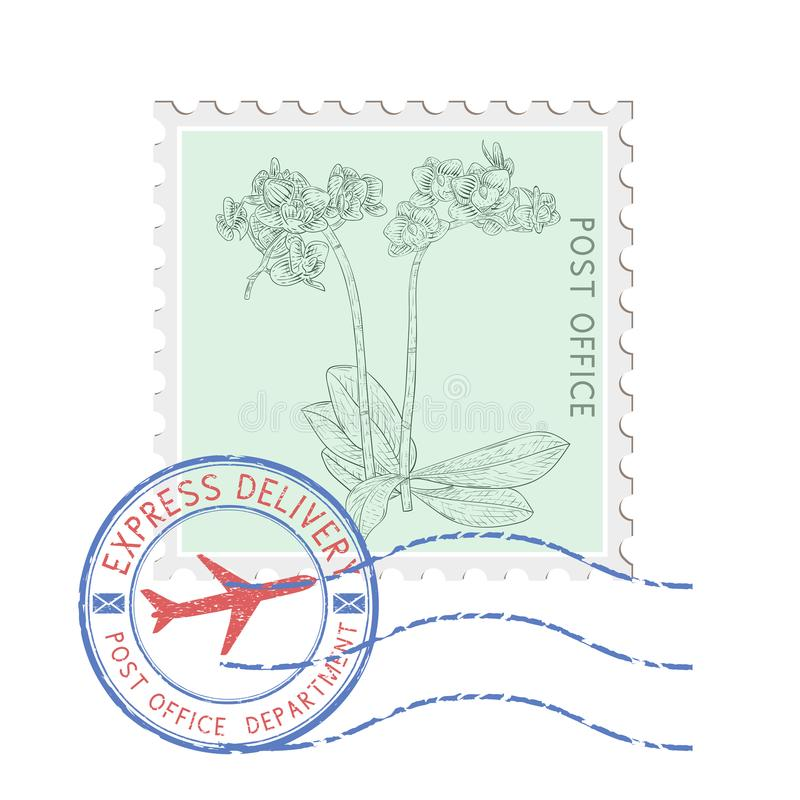 Selo postal com flor e o carimbo postal redondo azul ilustração stock