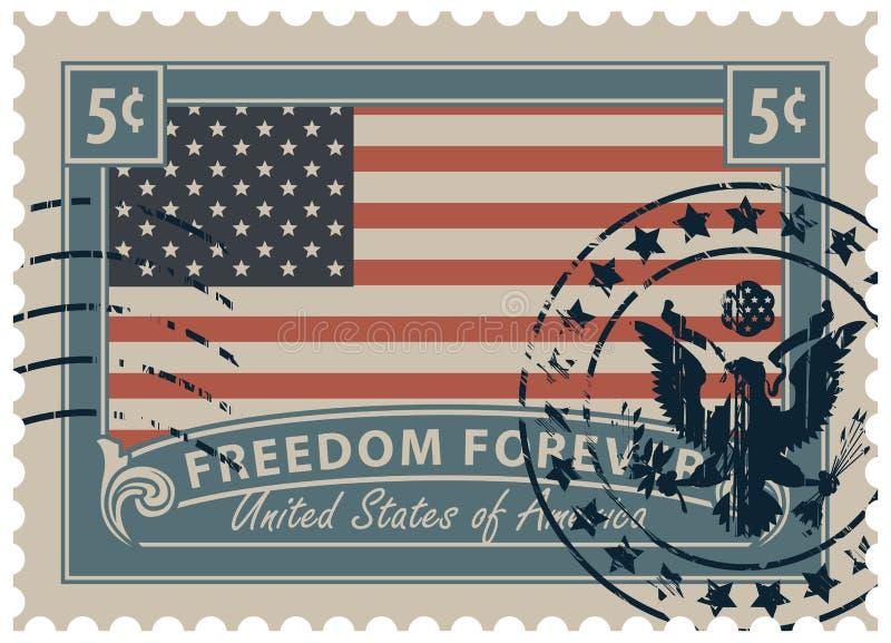 Selo postal com a imagem da bandeira americana ilustração royalty free