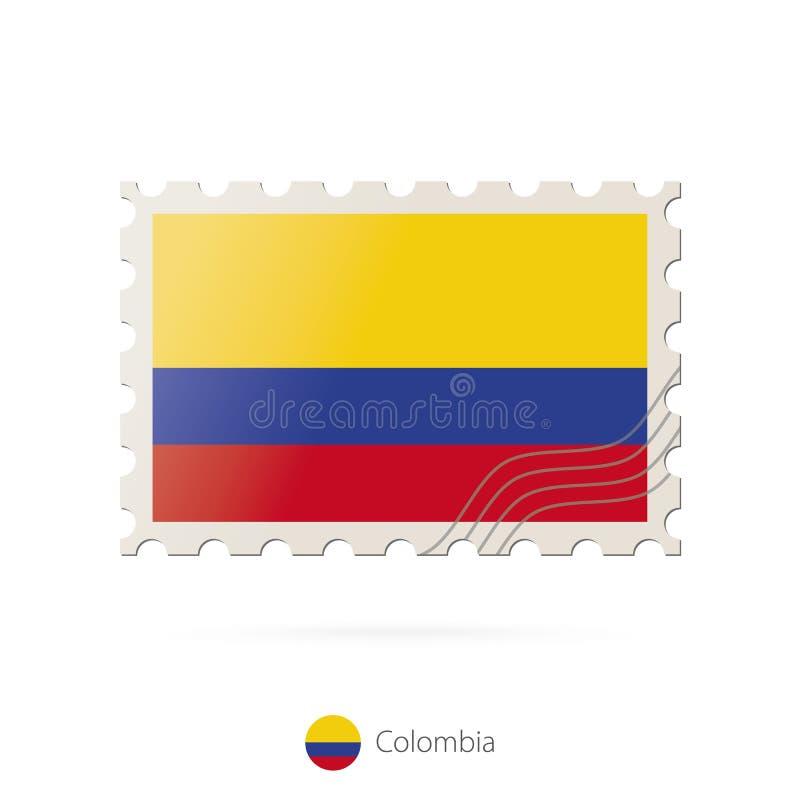 Selo postal com a imagem da bandeira de Colômbia ilustração do vetor