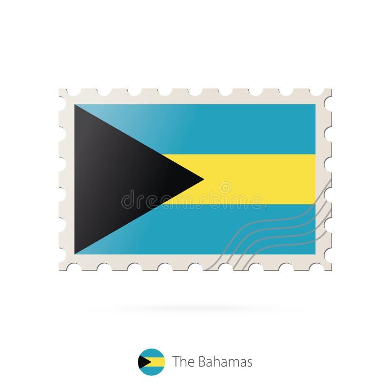 Selo postal com a imagem da bandeira do Bahamas ilustração do vetor