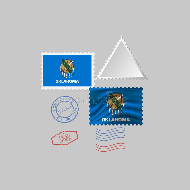 Selo postal com a imagem da bandeira do estado de Oklahoma Ilustra??o do vetor ilustração royalty free