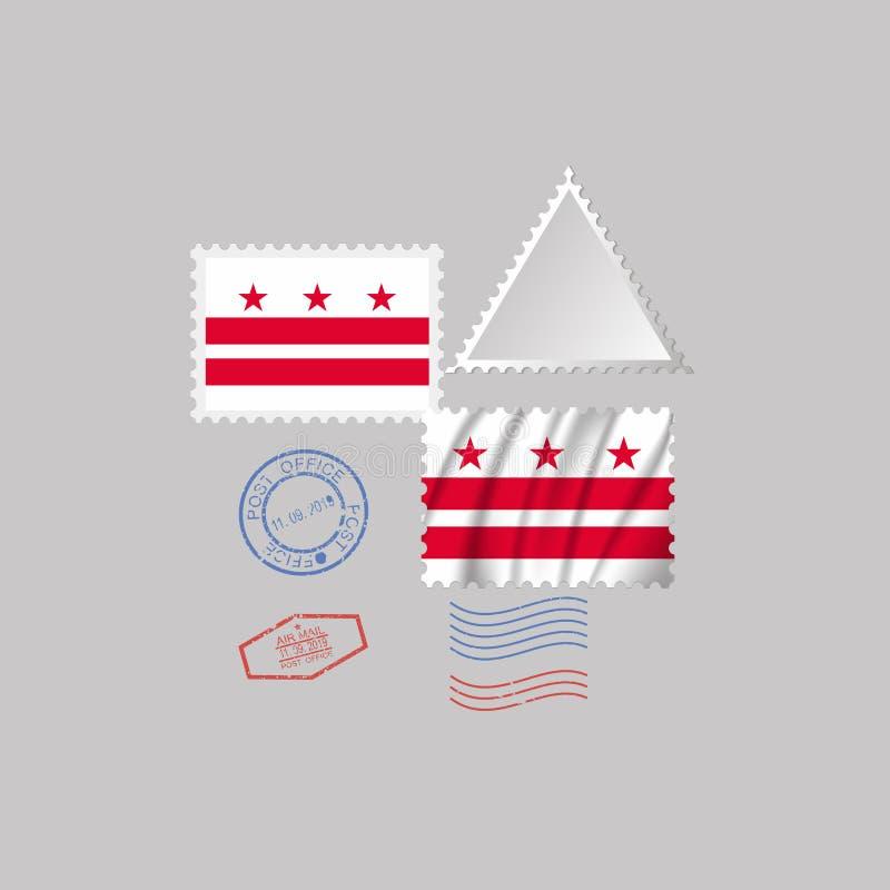 Selo postal com a imagem da bandeira do estado do distrito de Columbia Ilustra??o do vetor ilustração royalty free