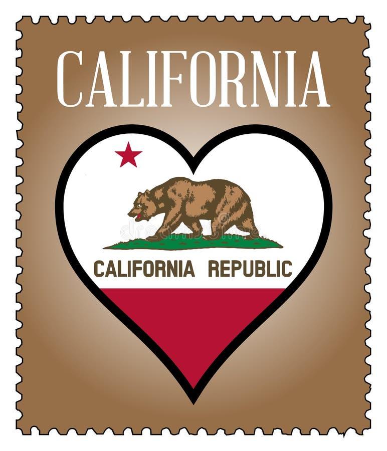 Selo postal da bandeira de Califórnia do amor ilustração do vetor
