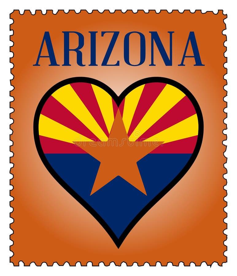 Selo postal da bandeira do Arizona do amor ilustração royalty free