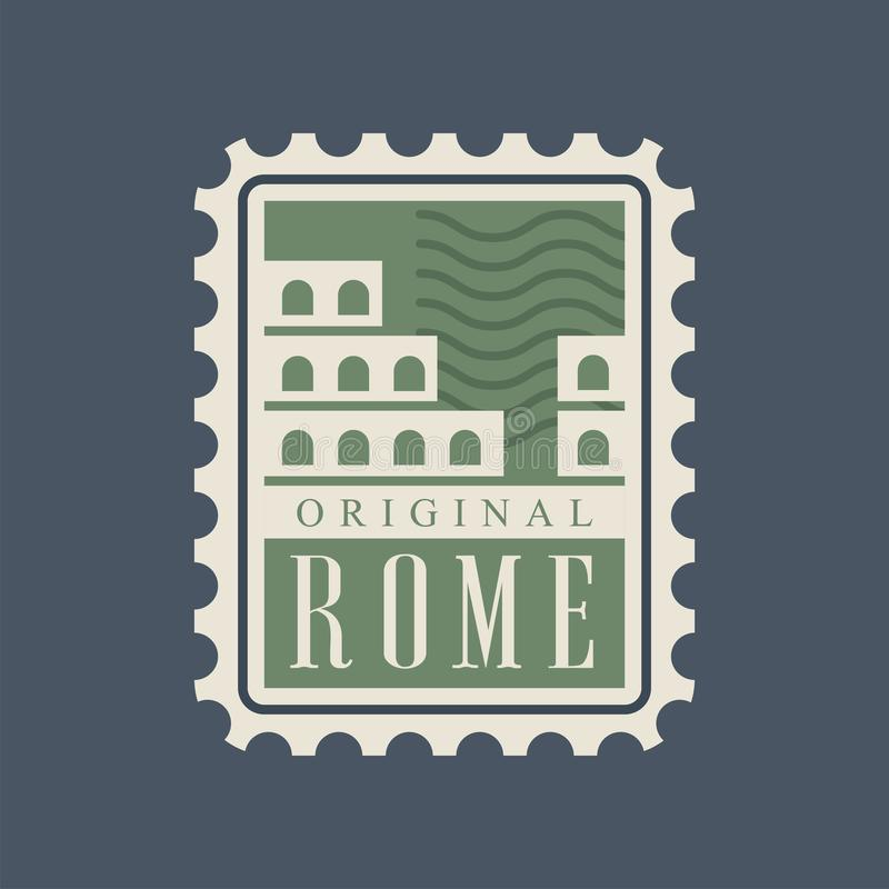 Selo postal da cidade de Roma com a silhueta abstrata de Colosseum Monumento da capital de Itália Marco arquitetónico famoso ilustração stock