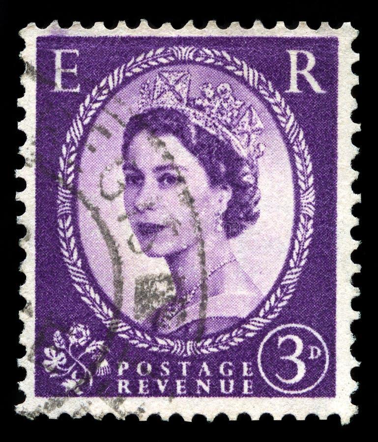 Selo postal da rainha Elizabeth II do vintage foto de stock