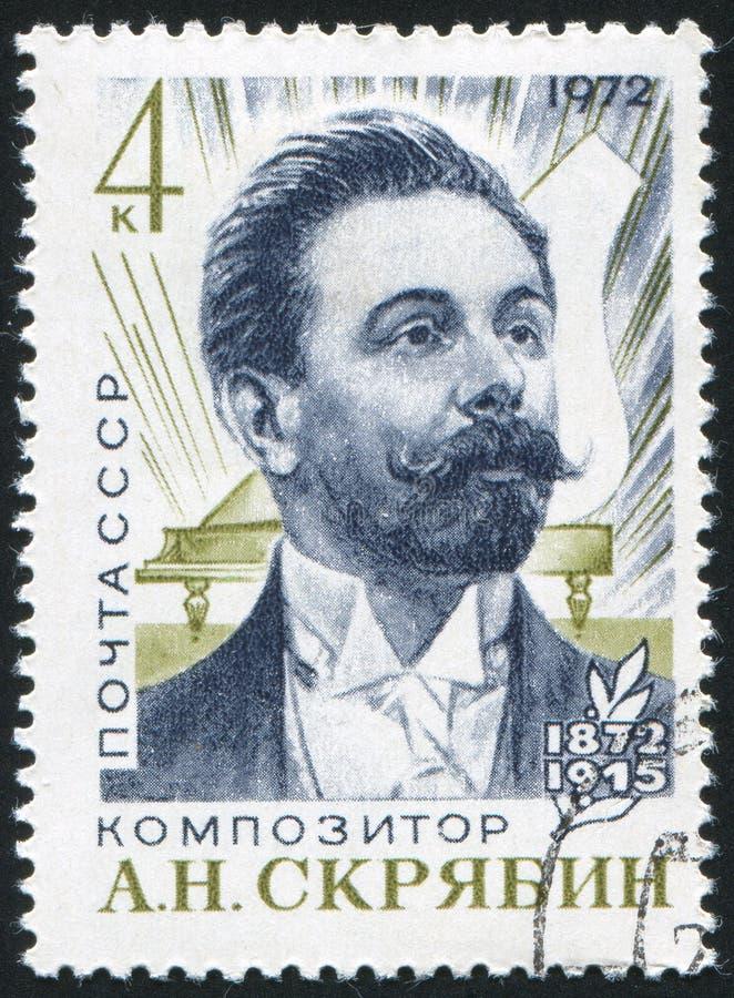 Selo postal de Alexander Scriabin impresso por Rússia imagem de stock