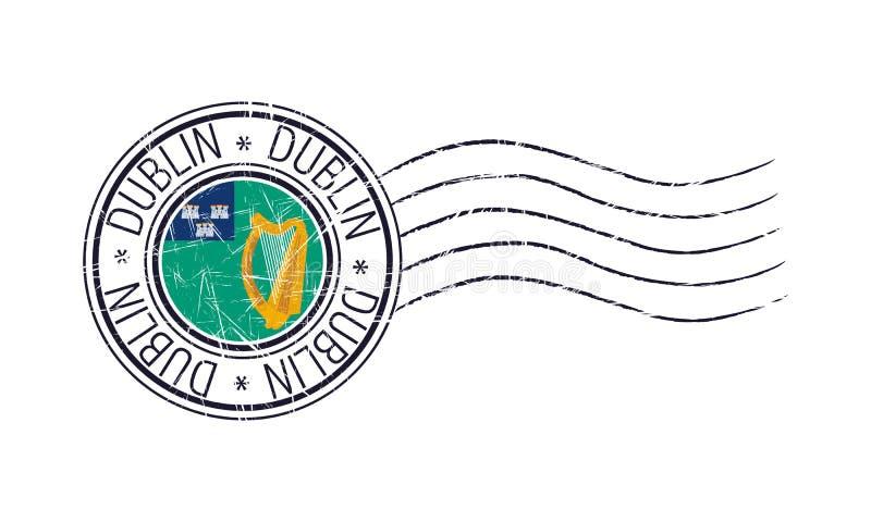 Selo postal de borracha do grunge da cidade de Dublin ilustração do vetor