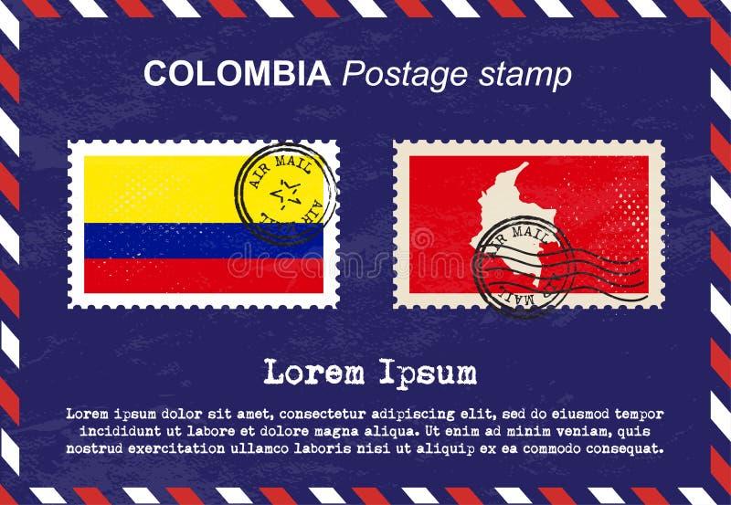 Selo postal de Colômbia, selo do vintage, envelope do correio aéreo ilustração do vetor