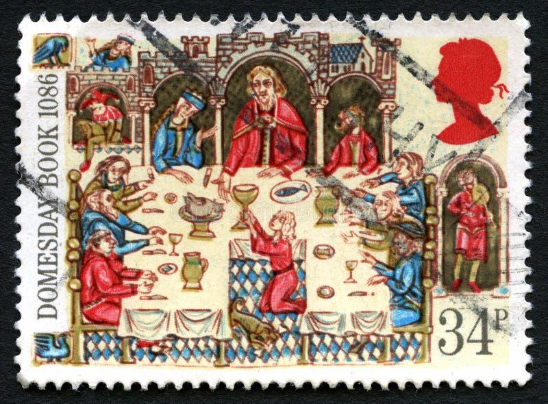 Selo postal de Domesday Boook Reino Unido imagens de stock royalty free
