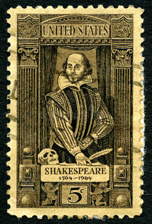 Selo postal de William Shakespeare EUA fotos de stock