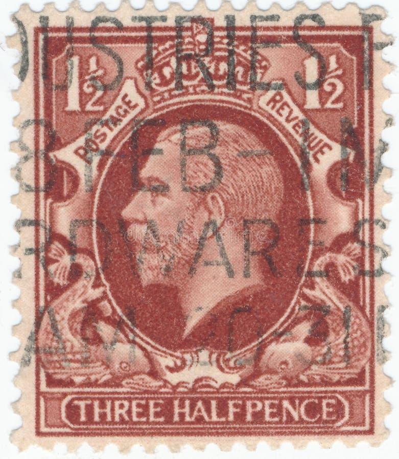 Selo postal do vintage impresso em Grâ Bretanha 1912 mostras, rei George V foto de stock