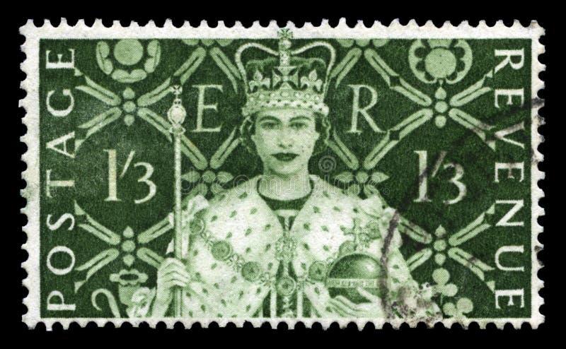 Selo postal do vintage que comemora a coroação do ` s da rainha foto de stock royalty free