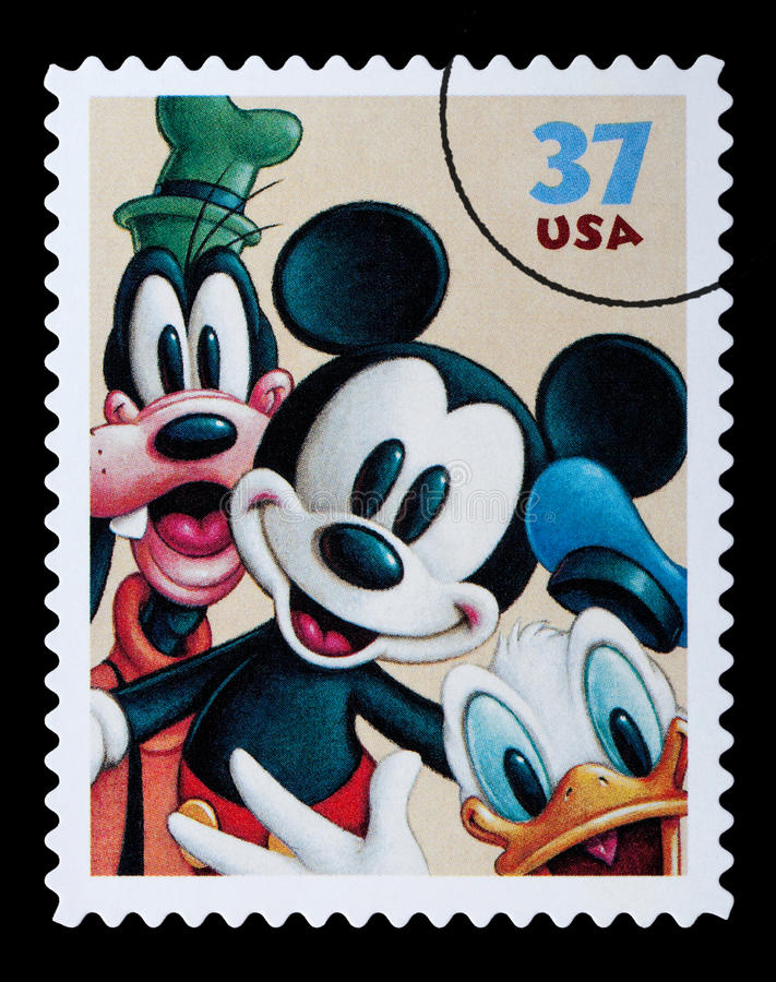 Selo postal dos caráteres de Disney ilustração royalty free