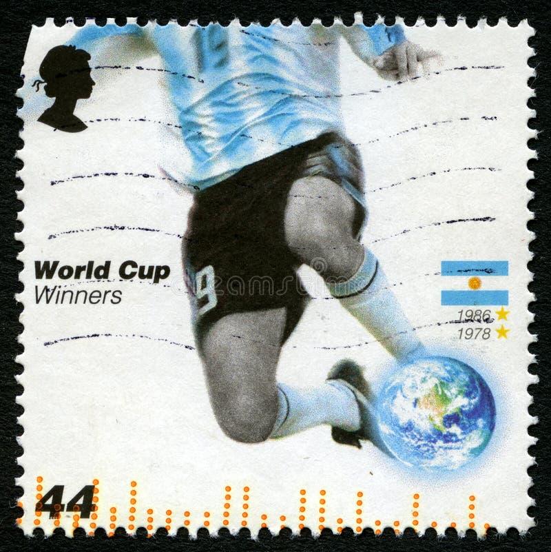 Selo postal dos vencedores do campeonato do mundo de Argentina fotos de stock royalty free