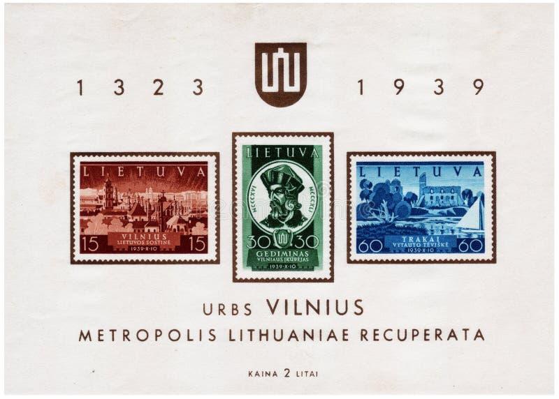 Selo postal impresso em Lituânia fotos de stock royalty free
