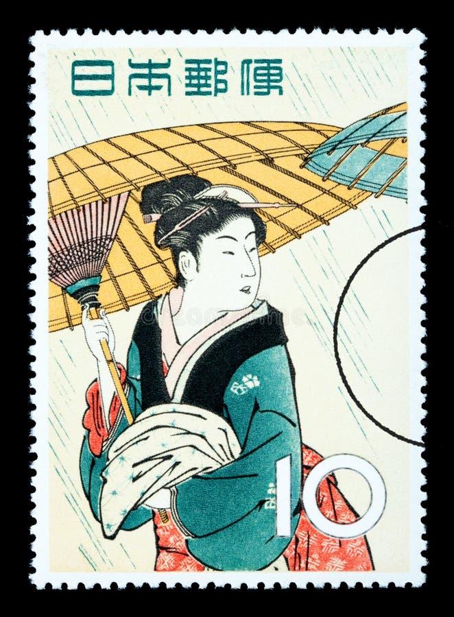Selo postal japonês da mulher ilustração royalty free