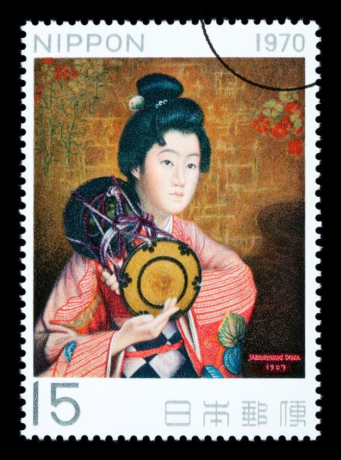 Selo postal japonês da mulher ilustração stock