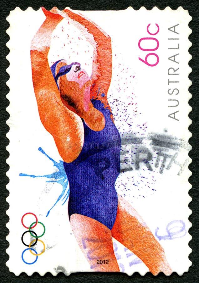 Selo postal nadador do australiano de 2012 Olympics ilustração royalty free
