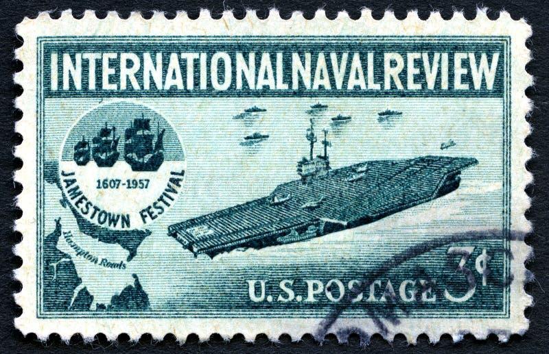 Selo postal naval internacional dos E.U. da revisão foto de stock royalty free