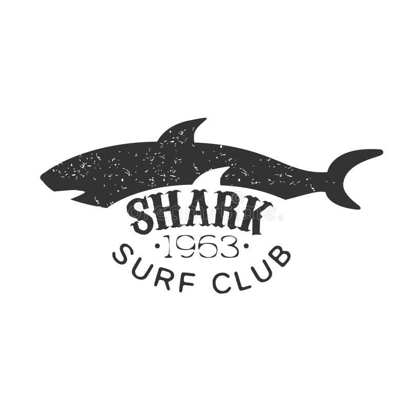 Selo preto e branco de Grey Shark Summer Surf Club com molde animal perigoso da silhueta ilustração do vetor