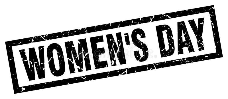 Selo quadrado do dia do ` s das mulheres do grunge ilustração do vetor