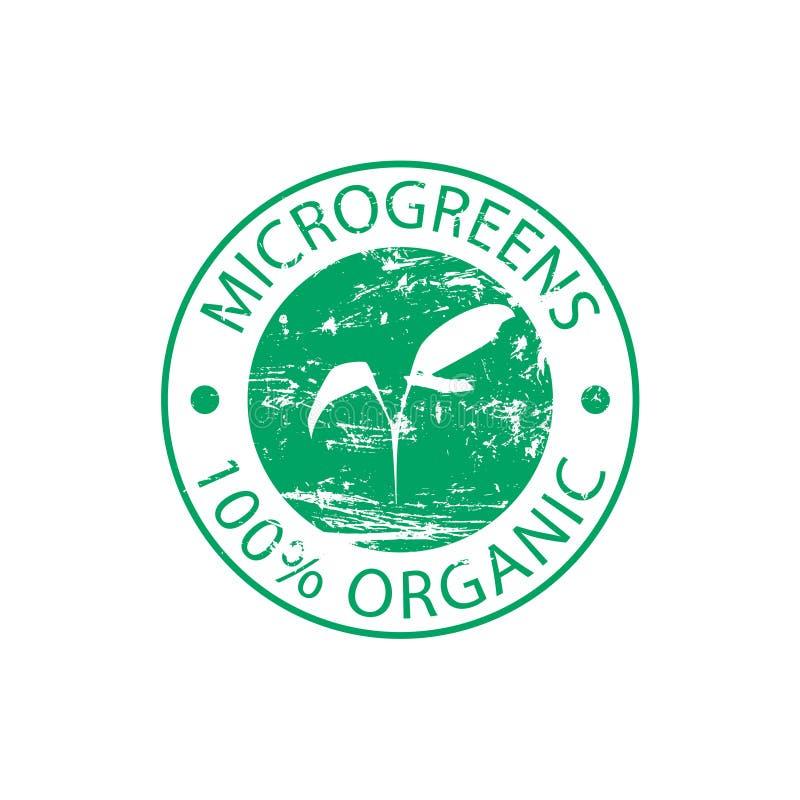 Selo redondo de borracha verde Microgreen ilustração do vetor