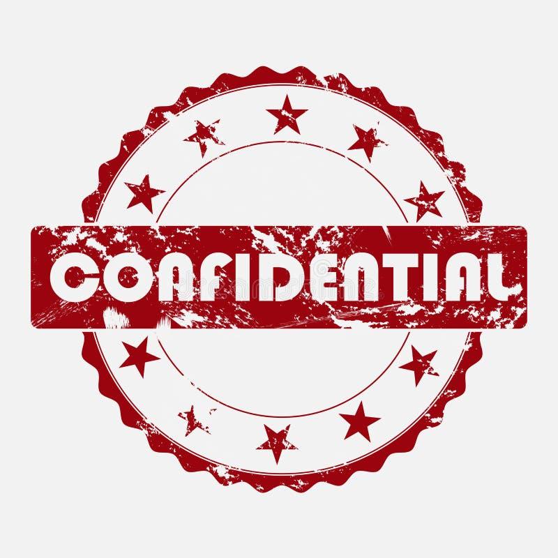 Selo redondo do ícone do vetor Inscrição envelhecida do grunge confidencial ilustração stock